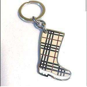 Auth. Burberry Metal Nova Check Rain Boot Keychain